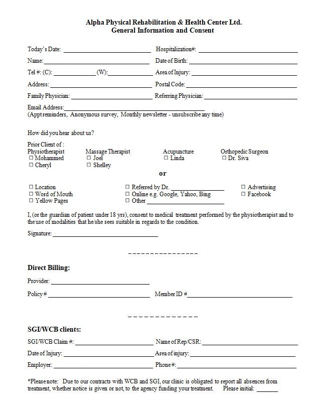 generic consent form template - general consent form